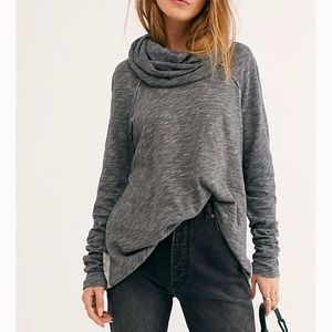 Free People Beach Grey Cocoon Cowl Pullover